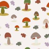 Modèle coloré sans couture de vecteur de champignon et de feuilles illustration stock