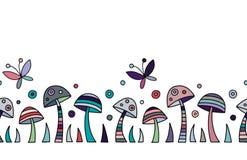 Modèle coloré tiré par la main décoratif de vecteur sans couture avec des champignons, papillon, points Illustration graphique illustration de vecteur