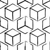 Modèle complètement sans couture et abstrait de cube Conception noire et blanche, fond 3d géométrique Photo stock