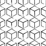Modèle complètement sans couture et abstrait de cube Conception noire et blanche, fond 3d géométrique Photo libre de droits