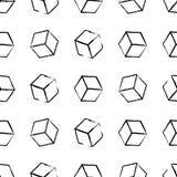Modèle complètement sans couture et abstrait de cube Conception noire et blanche, fond 3d géométrique Images libres de droits