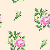 Modèle croisé de roses de point illustration stock