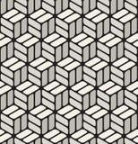 Modèle cubique sans couture noir de vecteur et de blanc de coin arrondi de rectangles de trottoir illustration libre de droits