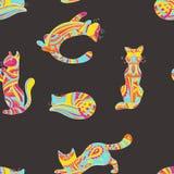 Modèle décoratif de chats illustration de vecteur
