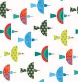 Modèle décoratif sans couture avec le fond coloré mignon d'oiseaux illustration libre de droits