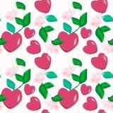 Modèle décoratif sans couture des coeurs de Valentine sur l'ornement floral de fond rose Image stock