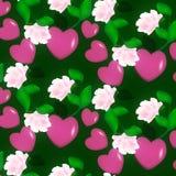 Modèle décoratif sans couture des coeurs de Valentine sur l'ornement floral de fond rose Images stock