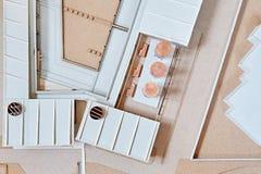 Modèle d'échelle d'un nouveau projet de construction Images libres de droits