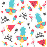 Modèle d'été Pastèque, ananas Photographie stock libre de droits