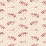 Modèle d'aliments de préparation rapide avec le hot-dog Illustration d'aspiration de main rétro Conception de cru Image libre de droits