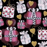 Modèle d'amour d'aquarelle pour la Saint-Valentin image libre de droits