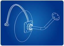 modèle 3d d'antenne parabolique sur un bleu illustration libre de droits
