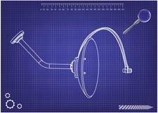 modèle 3d d'antenne parabolique sur un bleu illustration de vecteur