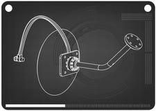 modèle 3d d'antenne parabolique sur un noir illustration stock