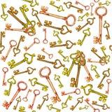 Modèle d'aquarelle avec des clés Image libre de droits