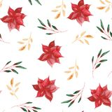 Modèle d'aquarelle avec des feuilles et des fleurs de Noël illustration de vecteur