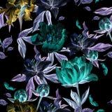 Modèle d'aquarelle avec des fleurs, des pivoines et des lis, des bourgeons et des pétales Photographie stock