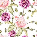 Modèle d'aquarelle avec des fleurs, des pivoines et des roses Photographie stock libre de droits