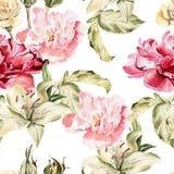 Modèle d'aquarelle avec des lis de fleurs, pivoines Photographie stock libre de droits