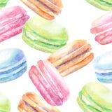 Modèle d'aquarelle avec des macarons Images libres de droits