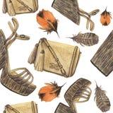 Modèle d'aquarelle avec des plumes, sac beige avec des glands et chaussures avec la plate-forme Photographie stock