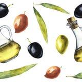 Modèle d'aquarelle avec l'huile, les olives et les feuilles d'olive Photos libres de droits