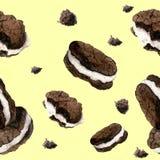 Modèle d'aquarelle avec les biscuits réalistes Image libre de droits