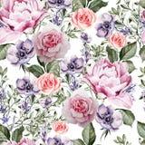 Modèle d'aquarelle avec les fleurs de la lavande et l'anémone, la pivoine et les roses Photos stock