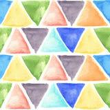 Modèle d'aquarelle avec les triangles colorées Remettez à aspiration l'illustration artistique pour la conception, textile, fond Photos stock