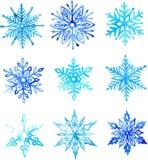 Modèle d'aquarelle de flocon de neige illustration de vecteur