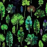 Modèle d'aquarelle de fond sans couture de texture de feuilles Images libres de droits