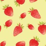 Modèle d'aquarelle de fraise d'aquarelle photos libres de droits