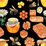 Modèle d'aquarelle des bouteilles, des nids d'abeilles, des abeilles et des fleurs de miel photographie stock