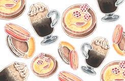 Modèle d'aquarelle des verres et des desserts viennois de café illustration stock