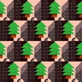 Modèle d'arbre de Noël avec un cadran dans le style géométrique Image stock