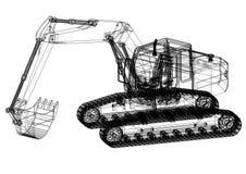 Modèle d'Architect d'excavatrice - d'isolement illustration stock