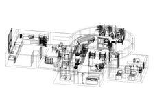 Modèle d'architecte d'appartement - d'isolement illustration libre de droits