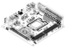 Modèle d'architecte de carte mère d'ordinateur - d'isolement illustration libre de droits