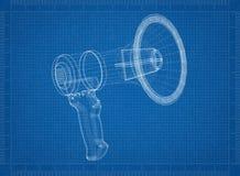 Modèle d'architecte de mégaphone illustration libre de droits