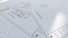 Modèle d'architecture et épure Photographie stock libre de droits