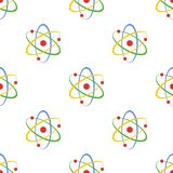 Modèle d'Atom Science Flat Icon Seamless Photo stock