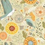 Modèle d'automne avec des oiseaux, des fleurs et des feuilles Photo stock