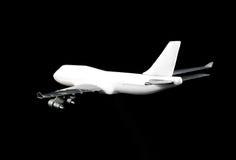 Modèle d'avion d'avion à réaction d'isolement sur le noir Images libres de droits