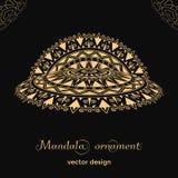 Modèle d'or de mandala sur le fond noir brochure Photo stock