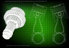 modèle 3d de piston et de vitesse illustration stock