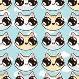 Modèle d'Eamless avec des chatons de Kawaii Modèle sans couture des chats mignons de bande dessinée, diff Photographie stock
