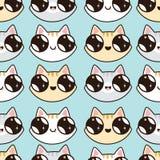 Modèle d'Eamless avec des chatons de Kawaii Modèle sans couture des chats mignons de bande dessinée, diff Images stock