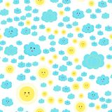 Modèle d'enfants de vecteur avec les nuages et le soleil bleus mignons illustration de vecteur