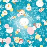 Modèle d'hiver avec des bonhommes de neige Image stock