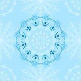 Modèle d'hiver de vecteur des flocons de neige et des mandalas Images libres de droits